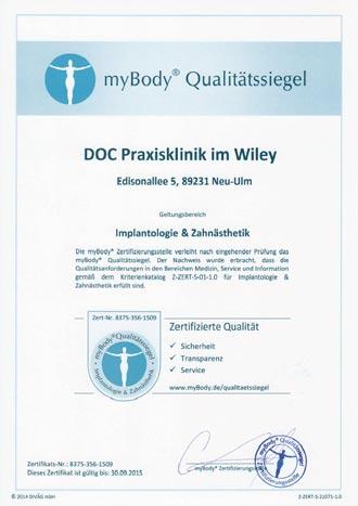 Zertifikatsurkunde DOC Praxisklinik im Wiley