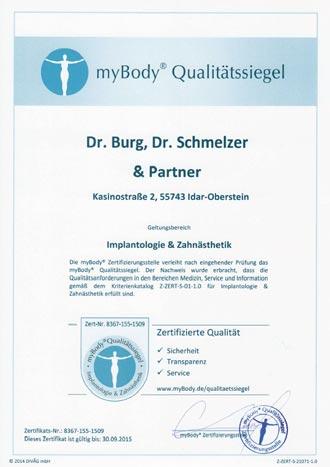 Zertifikatsurkunde Dr. Burg, Dr. Schmelzer & Partner