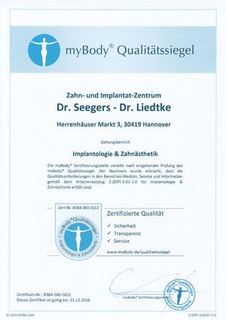 Zertifikatsurkunde ZIZ Dr. Seegers M.Sc. - Dr. Liedtke