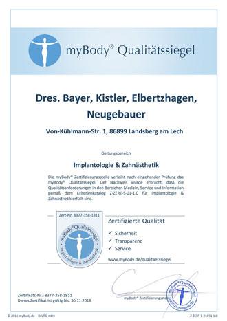 Zertifikatsurkunde Dres. Bayer, Kistler, Elbertzhagen, Neugebauer