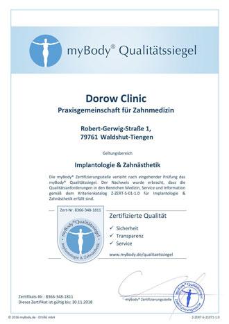 Zertifikatsurkunde Dorow Clinic