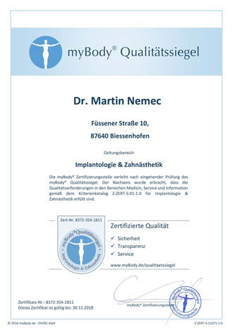Zertifikatsurkunde Dr. Martin Nemec
