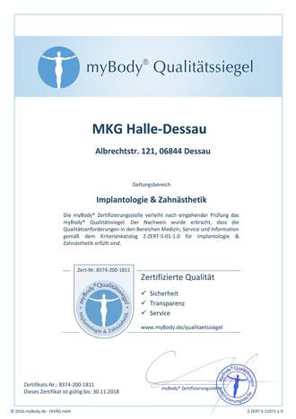 Zertifikatsurkunde MKG Halle - Dessau