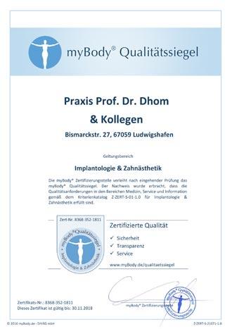 Zertifikatsurkunde Prof. Dr. Dhom & Kollegen