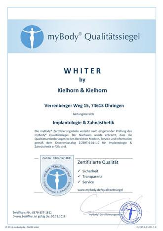 Zertifikatsurkunde Whiter by Kielhorn & Kielhorn